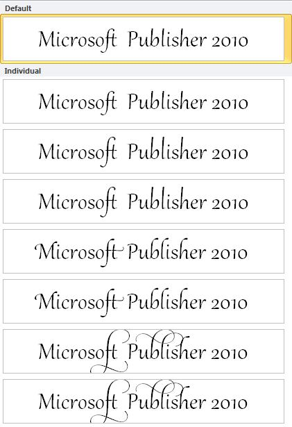 Programmas Publisher 2010 stilu kopa uzlabotam salikumam OpenType fontos