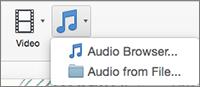 Audio ievietošanas izvēlne ar audio no faila un audio pārlūkprogrammas izvēli