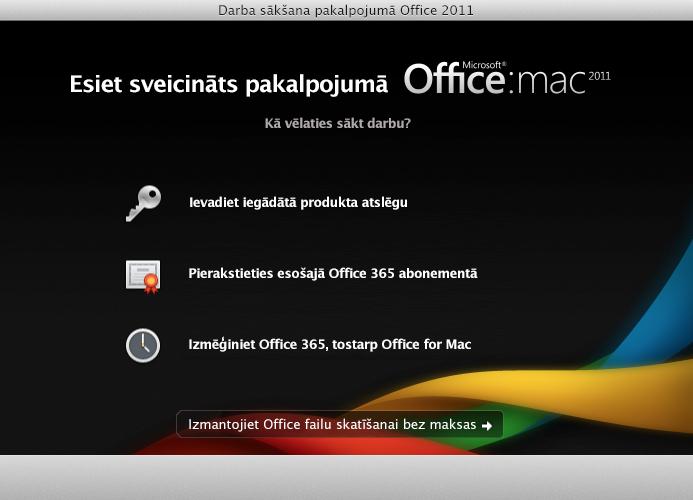Pierakstīties esošā Office365 abonementā
