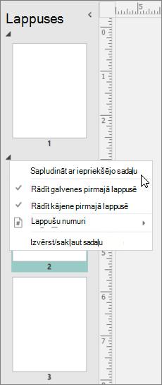 Ekrānuzņēmums, kurā redzama sadaļa ar kursoru, kas norāda uz opciju Sapludināt ar iepriekšējo sadaļu.