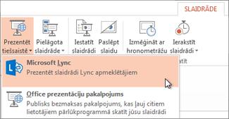 Prezentēšana tiešsaistē, izmantojot Lync