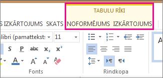 Attēls, kurā redzamas programmas Word Web App sadaļas Tabulu rīki cilnes Noformējums un Izkārtojums