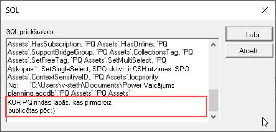 MS vaicājuma SQL skats, kurā akcentēta klauzula WHERE