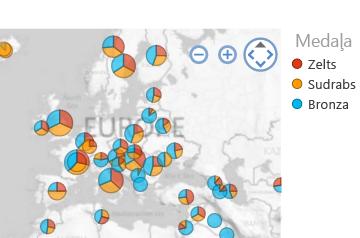 Kartes vizualizācija, kurā vērtības sakārtotas atbilstoši lietotāja vēlmēm