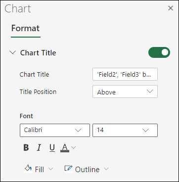 Diagrammas virsraksta opcijas Excel tīmeklī