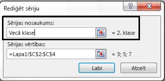 Sērijas nosaukuma tekstlodziņā ierakstiet apzīmējumu nosaukumu un noklikšķiniet uz Labi.
