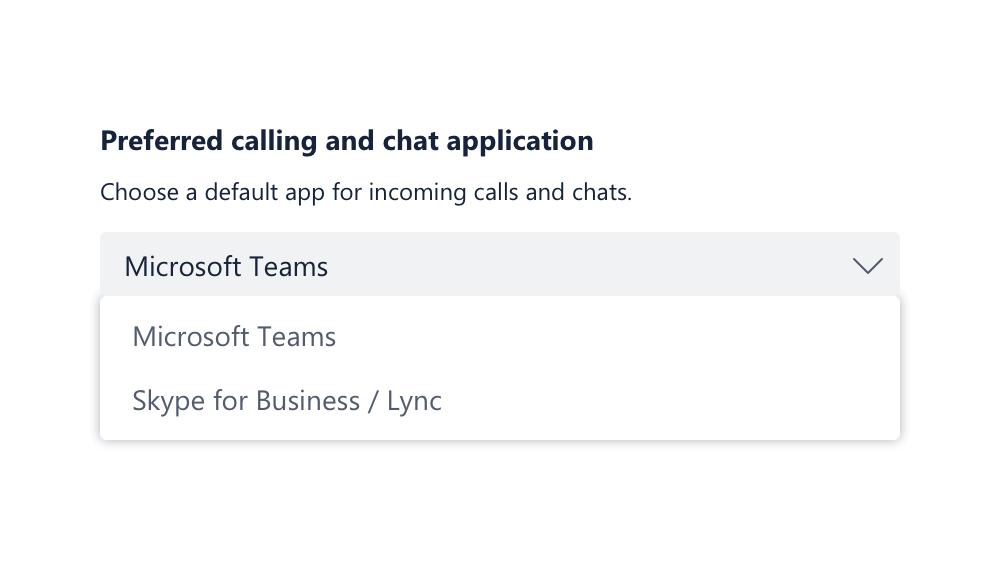 Vēlamā zvanīšanas programma — Teams vai Skype