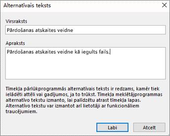 Alternatīvā teksta pievienošana failu izdrukas dialoglodziņā