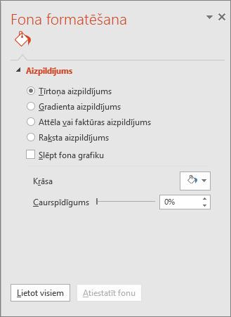 fona formatēšanas rūts programmā PowerPoint