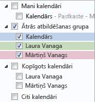 Kalendāru grupa navigācijas rūtī