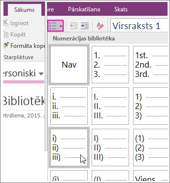 Ekrānuzņēmums, kurā parādīts, kā pievienot numerāciju lapā programmā OneNote2016.