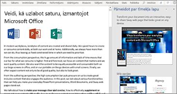 Dokuments pa kreisi un pārvēršanas par tīmekļa lapu rūts pa labi