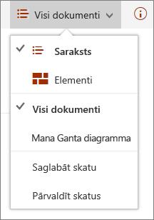 Izvēlne Microsoft Edge skati