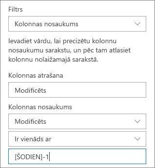 Dokumentu bibliotēkas, izmantojot kolonnu nosaukumu filtrēšana