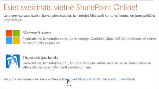 Ekrānuzņēmums, kurā redzams SharePoint Online pierakstīšanās ekrānā ar saiti, lai izveidotu atlasīto Microsoft kontu.