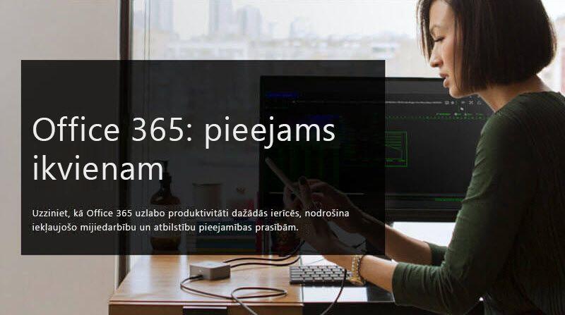 Attēls ar sievieti, kura skatās mobilajā ierīcē; papildināts ar tekstu, Office 365: Pieejams pēc noformējuma