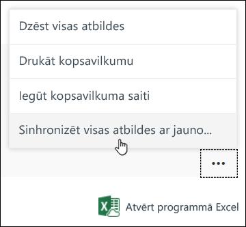 Opcija sinhronizēt visas atbildes jaunā darbgrāmatā programmā Microsoft Forms