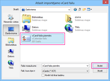 Izvēlieties vCard failu, ko vēlaties importēt .csv failā.