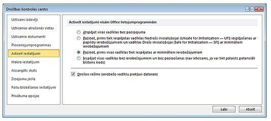 Drošības kontroles centra ActiveX iestatījumu apgabals