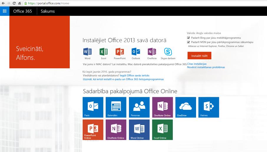 Ekrānuzņēmums ar to, kā Office365 instalēt datorā.