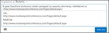 Tīmekļa vietrādis URL, kas ielīmēts jaunumu plūsmas ziņā