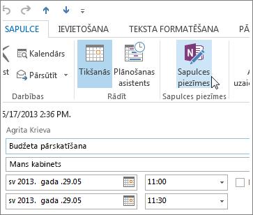 Piezīmju veikšana Outlook sapulcē