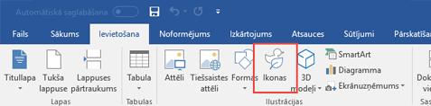 Grupā Ilustrācijas ir iekļauti rīki, kas dokumentā ļauj pievienot formas, ikonas, SmartArt un citus elementus