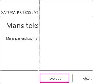 Poga Izveidot, kas pieejama lodziņā Pievienot tekstu