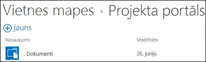Atlasiet vietni vietnes mapju sarakstā pakalpojumā Office 365, lai skatītu dokumentu bibliotēkās šajā vietnē.
