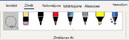 Word lentes cilne Zīmēšanas rīki.