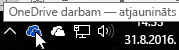 Ekrānuzņēmums, kurā redzams kursors virs zilās OneDrive ikonas, ar tekstu OneDrive darbam.