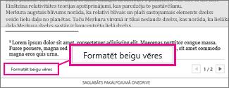 Poga Formatēt vēres Word Online vēru rediģēšanas apgabalā