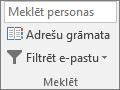 Programmā Outlook, cilnes Sākums grupā atrast izvēlieties adrešu grāmatu.