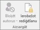 Cilnē Pārskatīšana ir parādīta ikona Ierobežot rediģēšanu