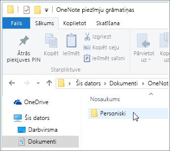 Mapes Windows dokumenti ekrānuzņēmums, kur redzama OneNote piezīmju grāmatiņu mape.