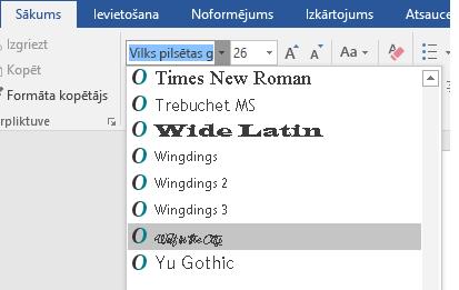 Jaunais fonts tiks parādīts Word fontu sarakstā.