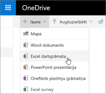 OneDrive izvēlne jauns, komanda Excel darbgrāmata