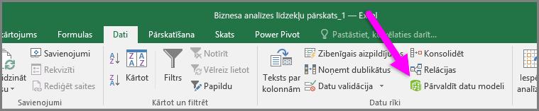 Datu modeļa pārvaldība lentes cilnē Dati