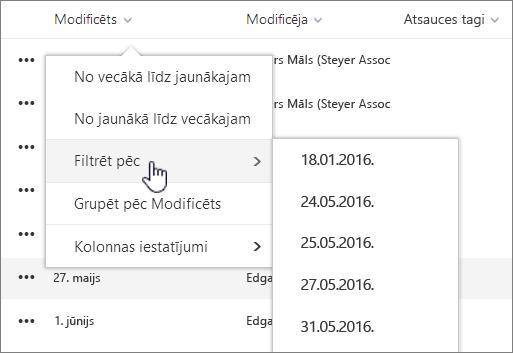 Kolonnas kārtošana un filtrēšana izvēlnē Skats
