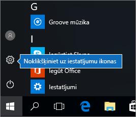 Sākuma izvēlnē noklikšķiniet uz Windows iestatījumu ikonas