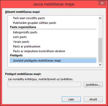 Atlasiet opciju Izveidot pielāgotu meklēšanas mapi