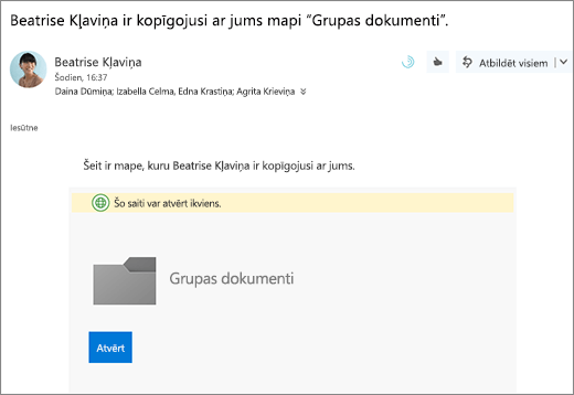 E-pastu ar saiti uz OneDrive mapes koplietošana