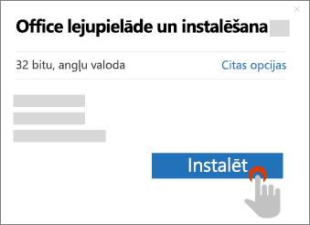 Parāda pogu Instalēt dialoglodziņā Office lejupielāde