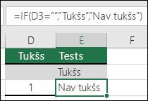 """Tiek pārbaudīts, vai šūna ir tukša— formula šūnā E2 ir =IF(ISBLANK(D2),""""Tukšs"""",""""Nav tukšs"""")"""