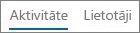 Skata Darbības ekrānuzņēmums Office365 Yammer darbību atskaitē