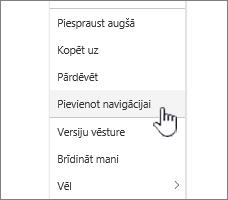 Pievienot navigācijas opciju no lapu sarakstu