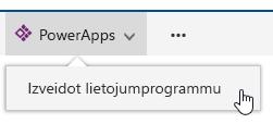 Noklikšķinot uz PowerApps un pēc tam uz izveidot programmu.