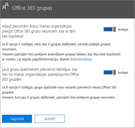 Atļaut personām, kas nav no manas organizācijas, piekļūt Office365 grupām un resursiem