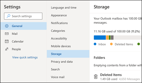 Outlook Web App mapes krātuves izvēlne.