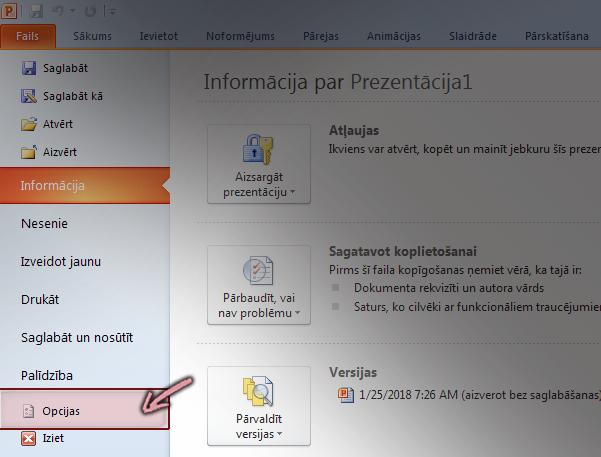 Lentes cilnē Fails programmā PowerPoint 2010, noklikšķiniet uz Opcijas